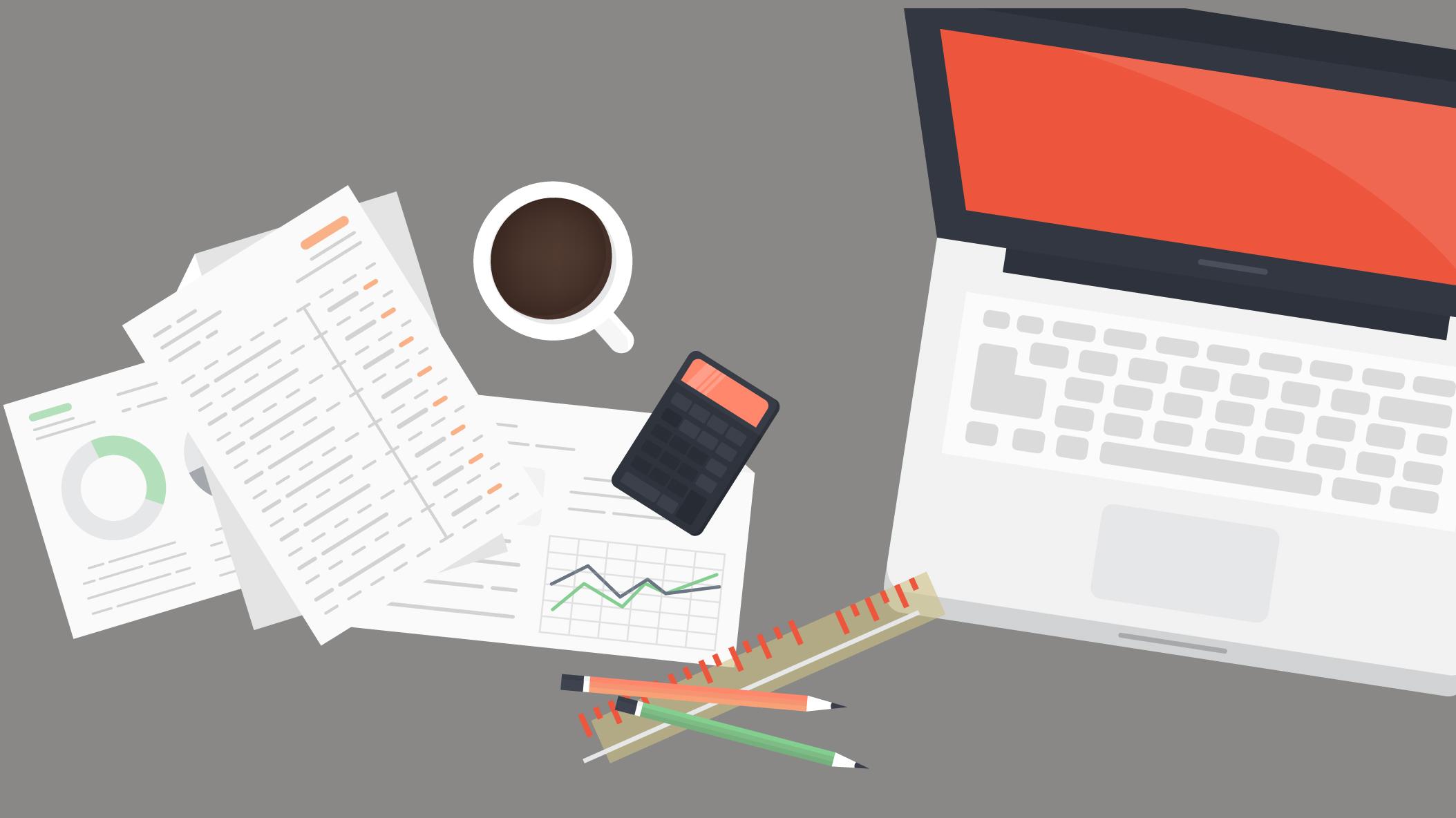 Slider représentant un ordinateur portable des papiers administratif une calculatrice des crayons une latte et une tasse de café